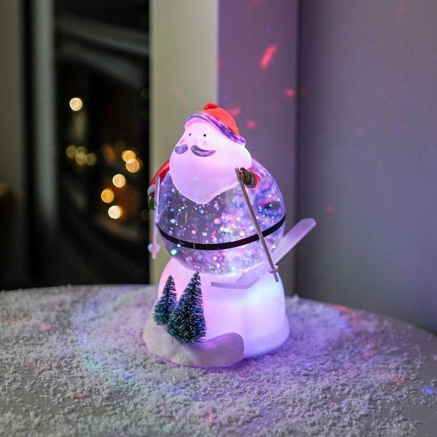 18cm Battery Swirling Glitter Skiing Santa