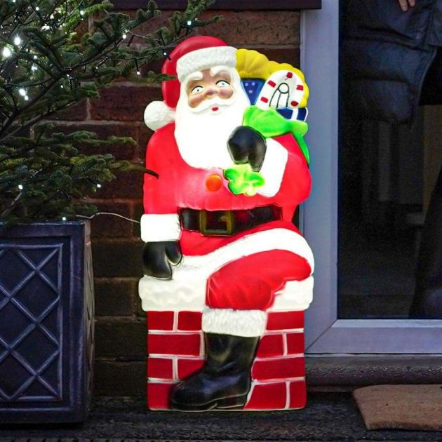 78cm Santa In Chimney Blow Mould Christmas Figure