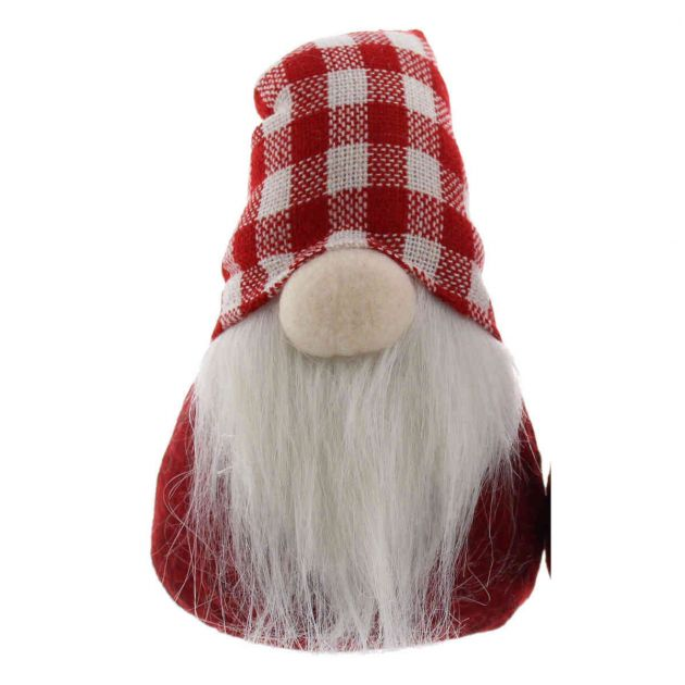 17cm Red Sitting Gonk with Checked Hat