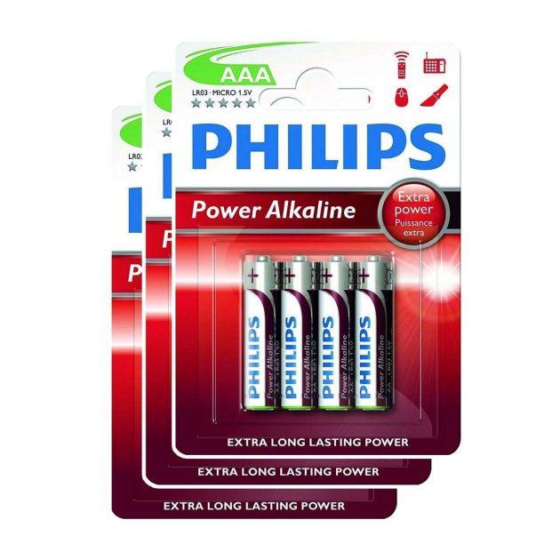 Philips Power Alkaline AAA Batteries (Pack of 12)