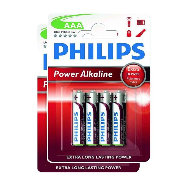 Philips Power Alkaline AAA Batteries (Pack of 8)