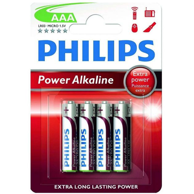 Philips Power Alkaline AAA Batteries (Pack of 4)