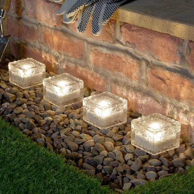 Solar Glass Brick Path Light, 4 Pack