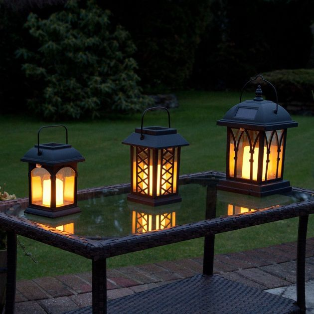 Solar Garden Flickering Candle Lantern, Amber LED, 3 Pack