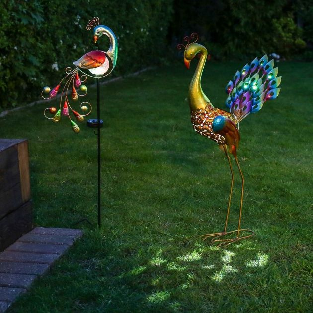 Solar Powered Decorative Peacock and Peacock Stake Light