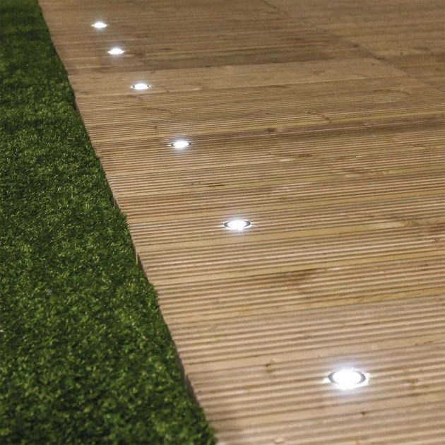 Stainless Steel Solar LED Deck Lights, 6 Pack