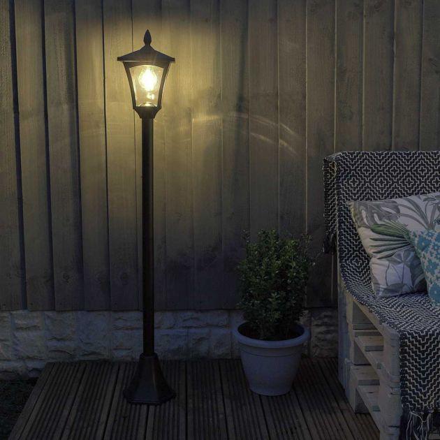 Solar Filament Effect LED Security Lamp Post, 1.2m