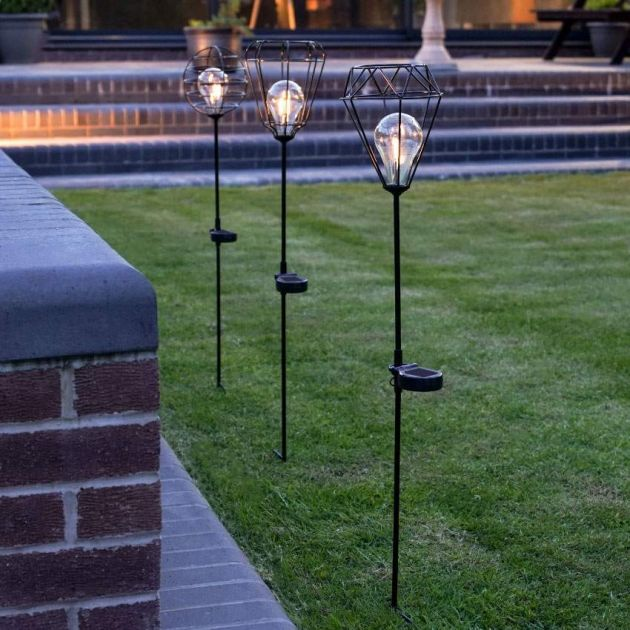 Solar Cage Filament Effect LED Stake Light, 3 Pack