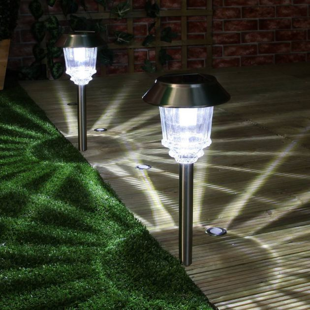 Super Solar Stainless Steel Stake Lights, High Power LEDs, 2 Pack, 33cm