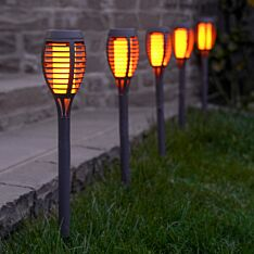 Solar Flaming Torch Stake Lights, 5 Pack