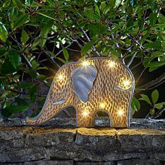 Solar Novelty Woodstone Elephant Light