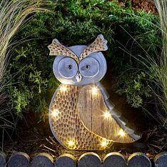 Solar Novelty Woodstone Owl Light