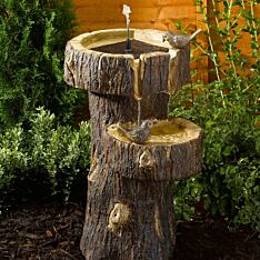 Solar Tree Trunk Birdbath Water Feature