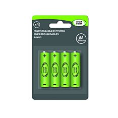 Solar Rechargeable Batteries, AA, 600 mAh, 1.2v, 4 Pack