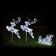 Outdoor Reindeer and Sleigh Figures, 90 White LEDs