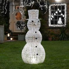1m Northern Lights Jewelled Snowman Figure, White LEDs