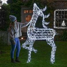 2m White Wicker Standing Reindeer Figure