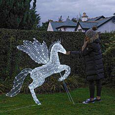 1.4m White Jewelled Flying Pegasus Figure