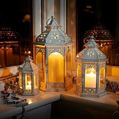 Outdoor White Marrakesh Metal Candle Lantern, 3 Pack