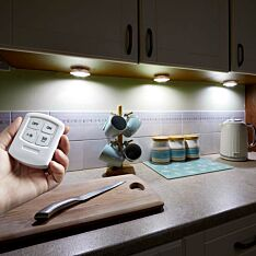 Battery Cupboard Unit Lights with Remote Control, 4 Pack