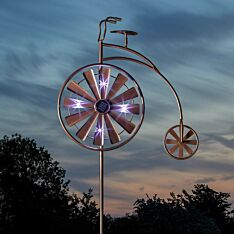 Solar Penny Farthing Wind Spinner Stake Light