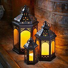 Outdoor Black Marrakesh Metal Candle Lantern, 3 Pack
