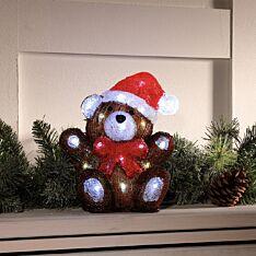25cm Battery Acrylic Teddy Bear Christmas Figure