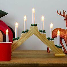 40cm Wooden Candle Bridge, Warm White Bulbs