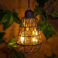19.5cm Outdoor Solar Hanging Cage with Wire Light