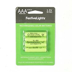 Solar Rechargeable Batteries, AAA, 600 mAh, 1.2v, 4 Pack