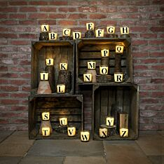 Alphabet A-Z Battery Vanilla Scented Flickering LED Glass Jar Candle