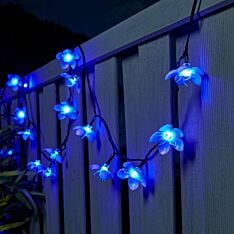 5m Outdoor Battery Cherry Blossom Fairy Lights, Green Cable
