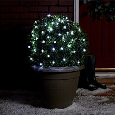 5m Outdoor Battery Clear Berry Fairy Lights, Green Cable