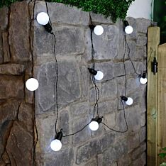 Outdoor Battery Festoon Lights, 10 LEDs, Frosted Bulbs, 4.5m