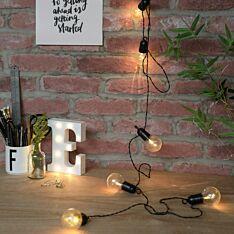 Outdoor Battery Festoon Lights, 10 Warm White LEDs, Clear Bulbs, 4.5m