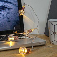 Battery Clear Mini Festoon Bulb Fairy Lights, 10 Warm White LEDs