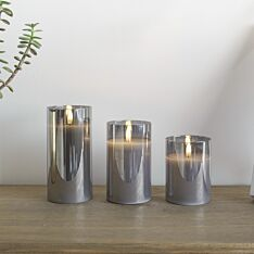 Grey Battery Wax Authentic Flame Candle in Smoked Glass Cylinder, 3 Pack