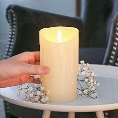 Ivory Battery Real Dripping Wax Authentic Flame LED Candle, 15cm