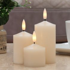 Ivory Battery Real Wax Authentic Flame LED Chapel Candles, 3 Pack