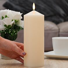 Ivory Battery Real Wax Authentic Flame LED Chapel Candle, 23cm