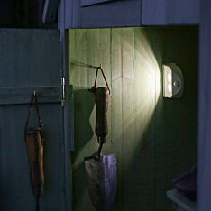 Outdoor White Battery Operated Wall Light with Motion Sensor