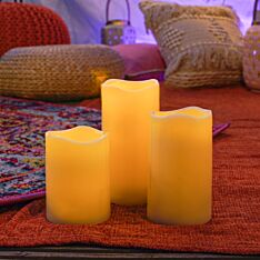 Outdoor Battery Operated LED Candles, 3 Pack
