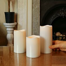 Outdoor Battery Operated White LED Candles, 3 Pack