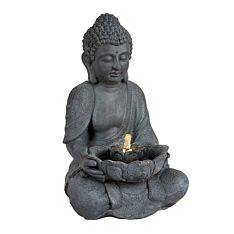 Plug In Outdoor Buddha Water Feature with Light