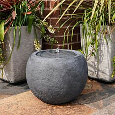 Plug In Outdoor Orb Stone Effect Water Feature with Light