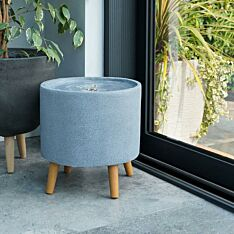 Plug In Outdoor Circular Stone Effect Water Feature with Light