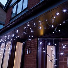 ConnectPro Outdoor LED Icicle Lights, Connectable, Black Rubber Cable