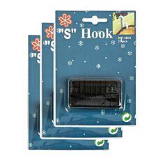 Black 'S' Gutter Hooks for 15 metre Lights, 30 Pack