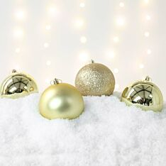 4 x 10cm Assorted Finish Christmas Shatterproof Baubles