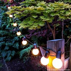 Outdoor Plug In Festoon Lights, 20 LEDs, Dark Green Cable, 4.75m